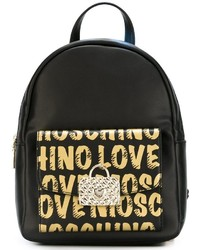 Black Print Leather Backpack