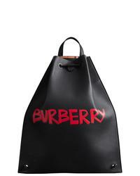 Black Print Leather Backpack