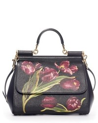 Dolce & Gabbana Dolcegabbana Small Miss Sicily Tulip Print Leather Satchel Black
