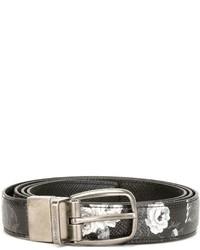 Black Print Leather Belt