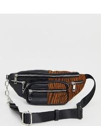 Glamorous Colour Block Tonal Zebra Print Bum Bag