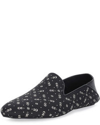 Black Print Leather Loafers