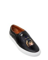 Black Print Leather Slip-on Sneakers