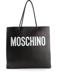 Black Print Leather Tote Bag