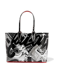 f516e6d36277 Christian Louboutin Cabata Small Spiked Printed Patent Leather Tote