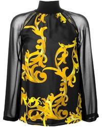 Versace Collection Baroque Print High Neck Blouse