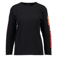Topshop Flame Long Sleeved Top Black