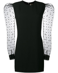 Saint Laurent Mini Dress With Heart Print Mesh Sleeves