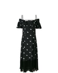 McQ Alexander McQueen Off The Shoulder Swallow Print Maxi Dress