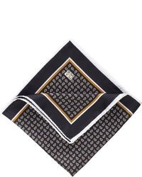 Black Print Pocket Square