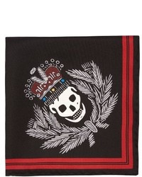 Alexander McQueen Badge Print Silk Pocket Square