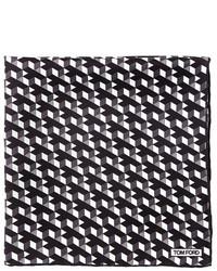 Tom Ford Geo Print Silk Pocket Square Black