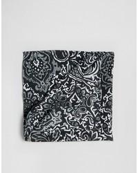 Asos Pocket Square In Monochrome Paisley Design