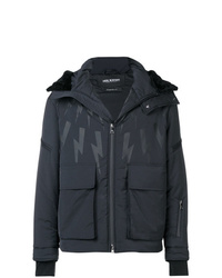 Neil Barrett Lightning Bolt Print Hooded Jacket