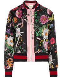 Gucci Printed Silk Satin Bomber Jacket Black