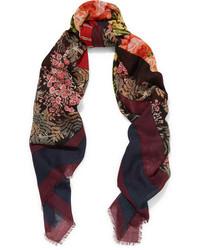 Balenciaga Kaleidoscope Printed Wool And Silk Blend Scarf Black