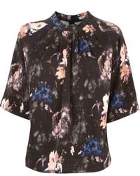 Black Print Short Sleeve Blouse