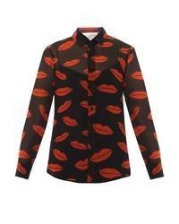 Archive lips print silk blouse medium 33291
