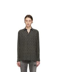 Black Print Silk Long Sleeve Shirt