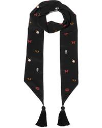 Alexander McQueen Tasseled Printed Silk Crepe De Chine Scarf Black