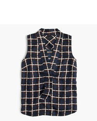 J.Crew Sleeveless Silk Twill Top In Windowpane Print