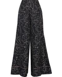 Roksanda Oldridge Printed Silk Twill Wide Leg Pants Midnight Blue