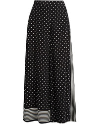 Stella McCartney Polka Dot Print Wide Leg Silk Crepe Trousers