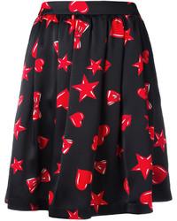 Black Print Skater Skirt