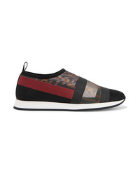 Fendi Colibr Logo Print Mesh And Rubber Slip On Sneakers