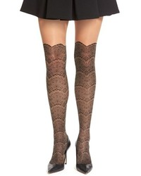 Via Spiga Noir Lace Faux Over The Knee Tights