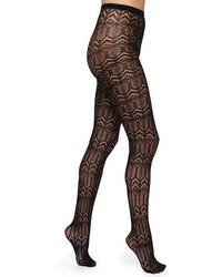 Alice + Olivia Silk Effect Cashmere Blend Diamond Knit Tights Black