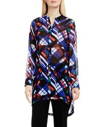 Vince Camuto Graphic Map Band Collar Tunic Blouse