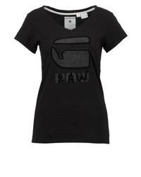 Kostine Slim V T Ss Print T Shirt Dk Black