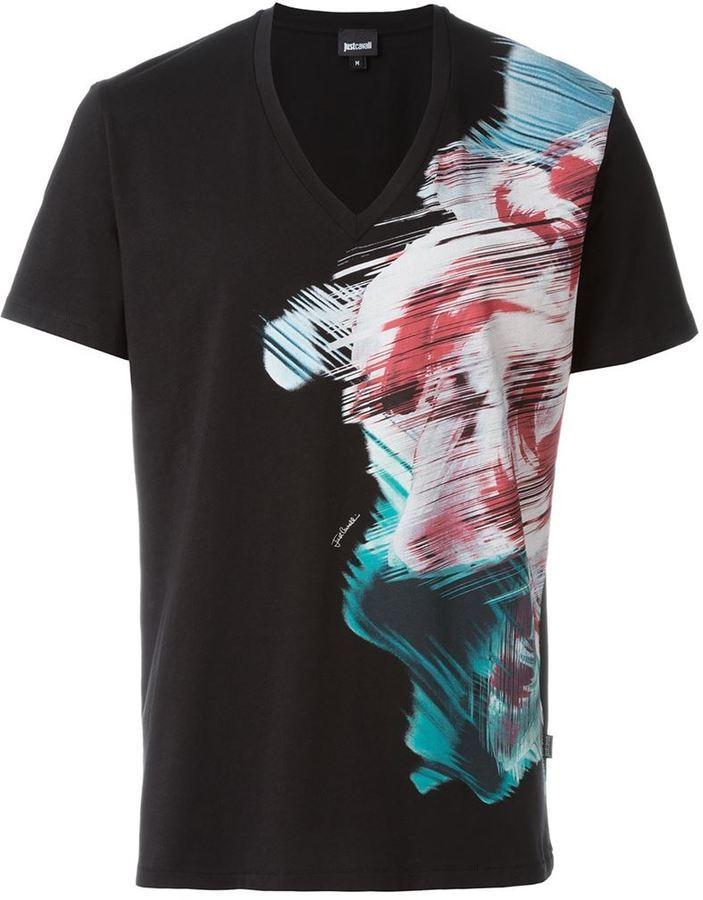 ... Just Cavalli V Neck Printed T Shirt