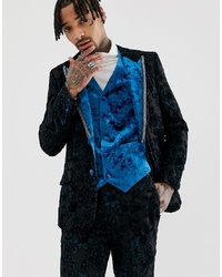 ASOS Edition Slim Tuxedo Jacket In Teal Burnout Velvet