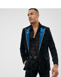 ASOS Edition Tall Slim Tuxedo Jacket In Teal Burnout Velvet