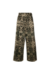 White Sand Patterned Wide Leg Trousers