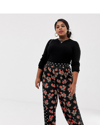 Neon Rose Plus Wide Leg Trousers In Mixed Print