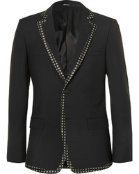 Alexander McQueen Black Print Trimmed Wool And Mohair Blend Blazer