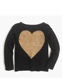 J.Crew Girls Wool Heart Popover Sweater