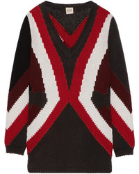 Tod's Merino Wool And Cashmere Blend Intarsia Sweater Black