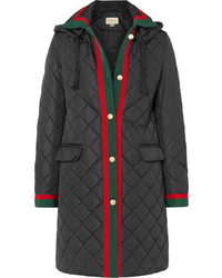 Gucci Hooded Grosgrain Trimmed Quilted Shell Coat