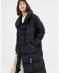 Mango Oversized Longline Zip Front Padded Coat In Black