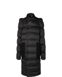 Rick Owens Oversized Suede Trimmed Quilted Shell Down Coat
