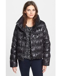 Eileen Fisher Funnel Neck Ruched Down Jacket