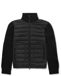 Moncler Panelled Virgin Wool Blend And Quilted Shell Down Zip Up Cardigan