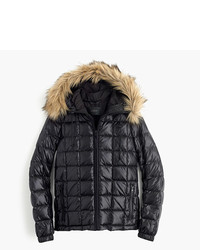 Short Quilted Puffer Jacket With Faux Fur Hood