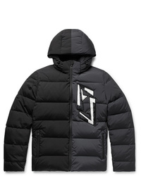 Fendi Slim Fit Logo Appliqud Colour Block Quilted Nylon Blend Hooded Down Jacket