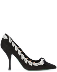 Fendi Pointy Toe Pumps With Ribbon