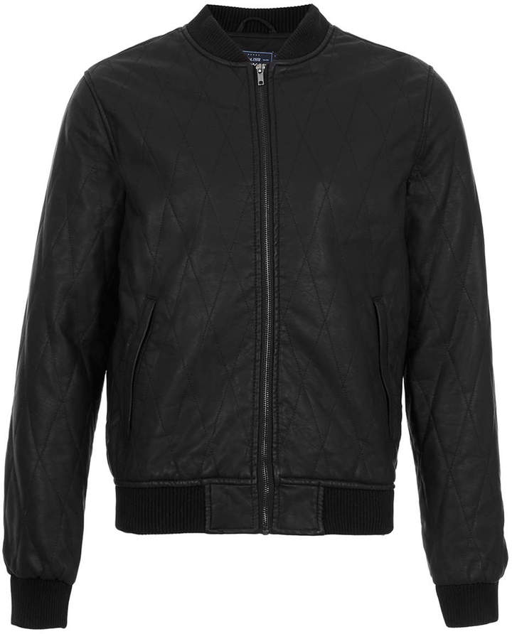 Topman Black Quilted Faux Leather Bomber Jacket | Where to buy ...